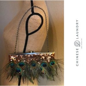 CHINESE LAUNDRY PEACOCK FEATHER & SEQUIN BAG